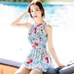 Sweet Splash - 無袖印花裙式游泳衣