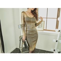 UUZONE - V-Neck Glittered Long Bodycon Dress