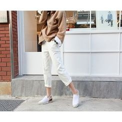 MARSHMALLOW - Brushed Fleece-Lined Banded-Waist Pants
