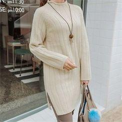 JOAMOM - Mock-Neck Slit-Side Long Knit Top