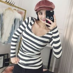 Seoul Fashion - Scoop-Neck Striped T-Shirt