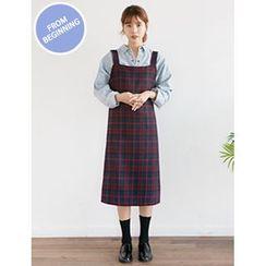 FROMBEGINNING - Sleeveless Check A-Line Long Dress