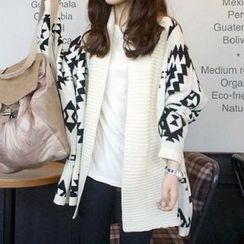 JVL - Dolman-Sleeve Patterned Long Cardigan