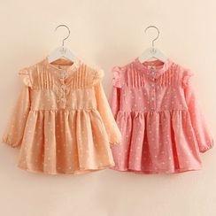 贝壳童装 - 儿童圆点长袖连衣裙