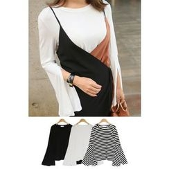 PPGIRL - Round-Neck Slit-Sleeve Top