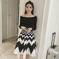 Phyllis - Set : Off-shoulder Knit Top + Chevron Ruffle Skirt