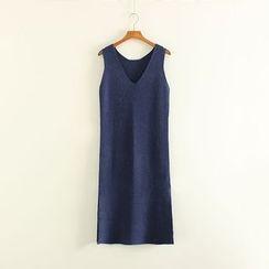 Mushi - V-Neck Knit Pinafore Dress