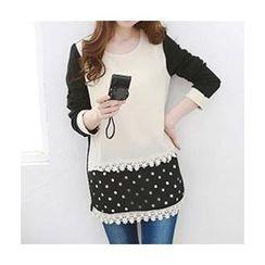 Carabecca - Dotted Panel Crochet Trim Long Sleeve Tunic