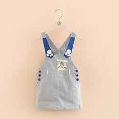 贝壳童装 - 儿童条纹背带连衣裙