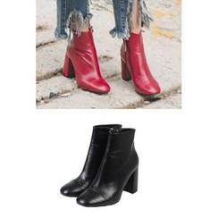 migunstyle - Zip-Detail Chunky-Heel Ankle Boots
