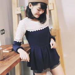 Tokyo Fashion - Long-Sleeve Lace-Panel Peplum Top