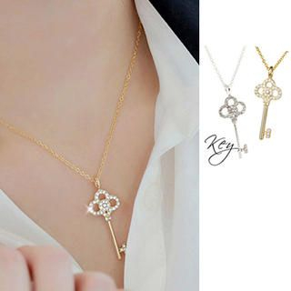 Clair Shop - Rhinestone Key Necklace