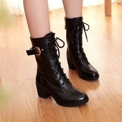 YOUIN - Chunky-Heel Buckled Mid-Calf Boots