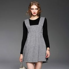 欧依潮派 - 套装: 长袖上衣 + 条纹背带连衣裙