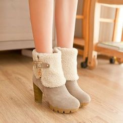 YOUIN - Chunky-Heel Buckled Paneled Short Boots