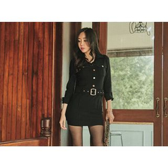 UUZONE - Cuff-Sleeve Belted Dress