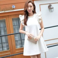 Dabuwawa - Wool Blend Frilled-Trim A-Line Dress