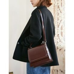 FROMBEGINNING - Flap Faux-Leather Satchel