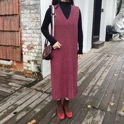 YOSH - Plain V-Neck Midi Knit Tank Dress