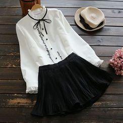 YOYO - 刺繡皺摺襯衫