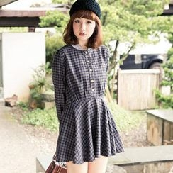 CatWorld - Ribbed-Collar Drawstring Plaid Shirtdress