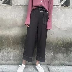 Bloombloom - Contrast Stitching Wide-Leg Pants