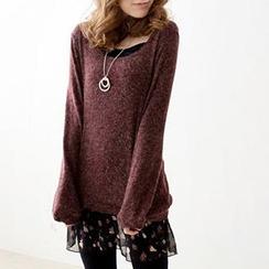 Tokyo Fashion - Set: Knit Top + Ruffled Slipdress
