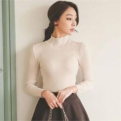 ode' - Mock-Neck Pointelle-Knit Top