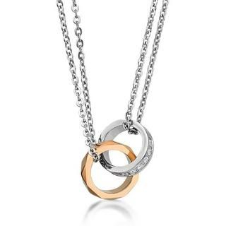 Kenny & co. - IP Rose Gold & Steel Geometry Rhombus Double Ring with Necklace