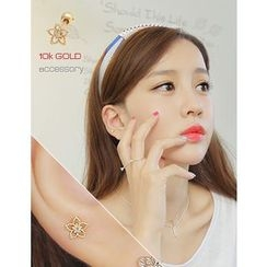 soo n soo - 10K Gold Rhinestone Flower Stud Earrings