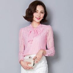 Lovebirds - Long-Sleeve Bowed Lace Top