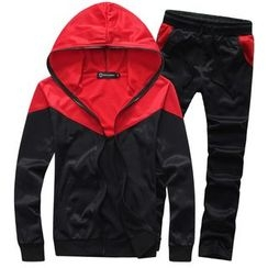 Bay Go Mall - Set : Panel Hoodie + Sweatpants