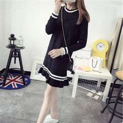Florie - Long-Sleeve Pleated Knit Dress