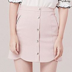 Nimill - Button Down A-Line Mini Skirt