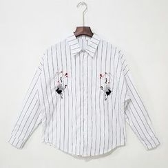 Mr. Cai - Long-Sleeve Embroidery Striped Shirt