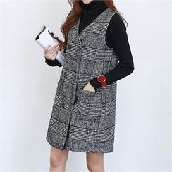 PEPER - Sleeveless Double-Breasted Check Dress