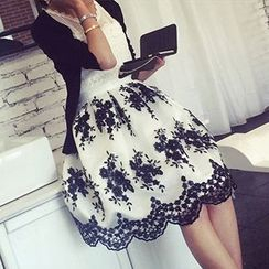 Melodious - Floral Embroidered Lace Trim Midi Skirt