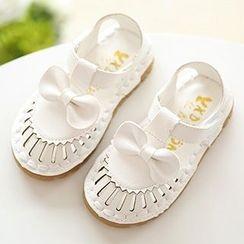 绿豆蛙童鞋 - 小童蝴蝶结通花凉鞋