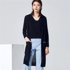 MAGJAY - Linen Blend Open-Front Long Cardigan
