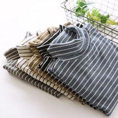 Bonbon - Turtleneck Stripe Knit Top