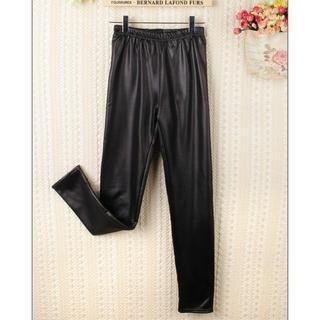 JVL - Elastic-Waist Faux-Leather Leggings