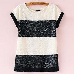 Munai - Short-Sleeve Contrast-Color Lace Top