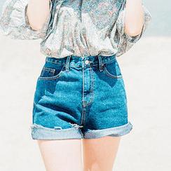 chuu - Fray-Hem Washed Denim Shorts