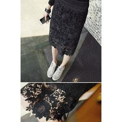 REDOPIN - Banded-Waist Laced Skirt