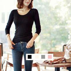 MITU - Inset Bra Cap Long-Sleeve T-Shirt