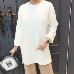 DANI LOVE - Slit-Side Boxy-Fit Long T-Shirt