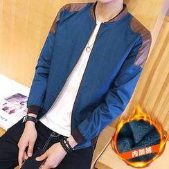 Masowild - Faux Leather Panel Zip Jacket