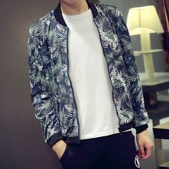 Bay Go Mall - Floral Print Baseball Jacket