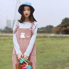 sansweet - Cat Print Corduroy Pinafore Jumpsuit