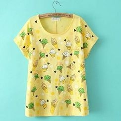 JVL - Short-Sleeve Ice Cream-Print T-Shirt